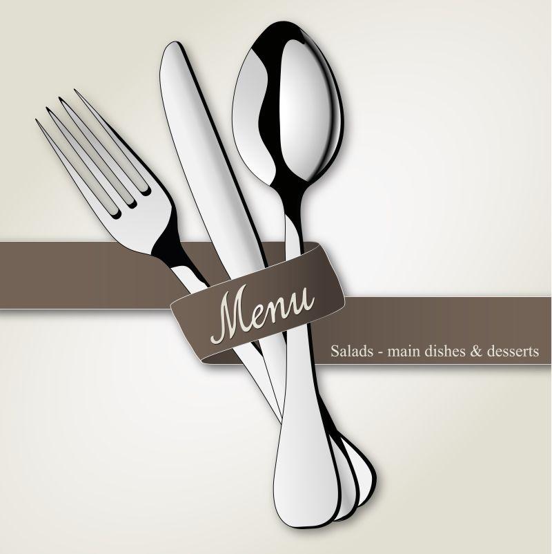 矢量餐具菜单