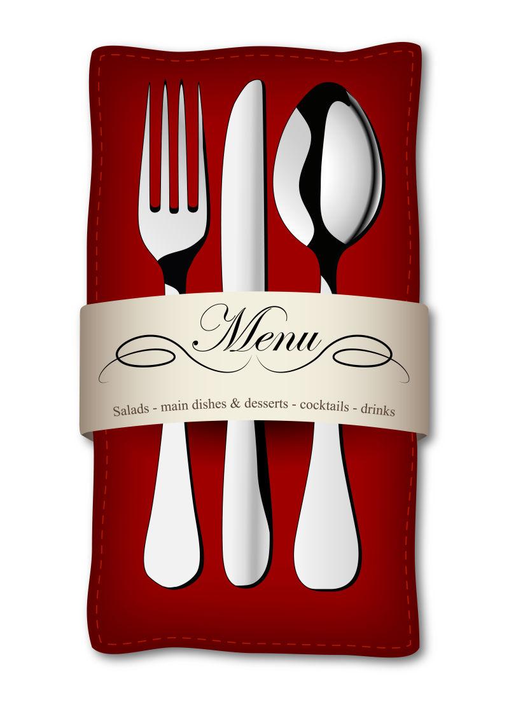 矢量红色背景餐具菜单设计