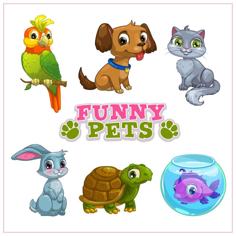 卡通的小动物矢量插画
