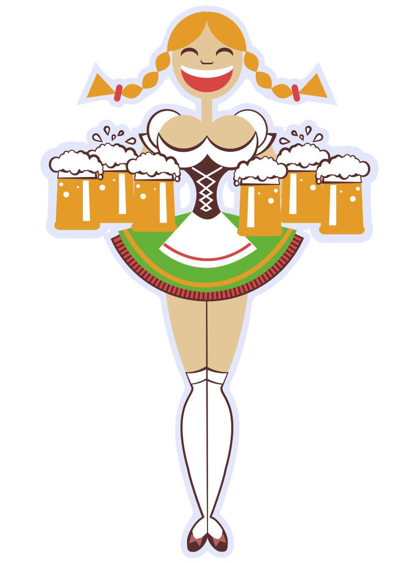 矢量拿啤酒的服务员图标插图设计