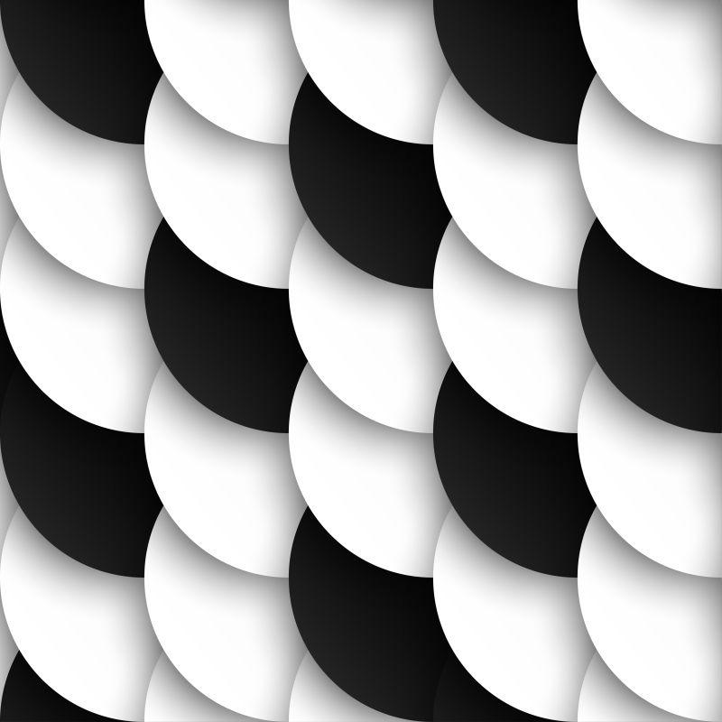 黑色和白色圆圈图案的矢量背景