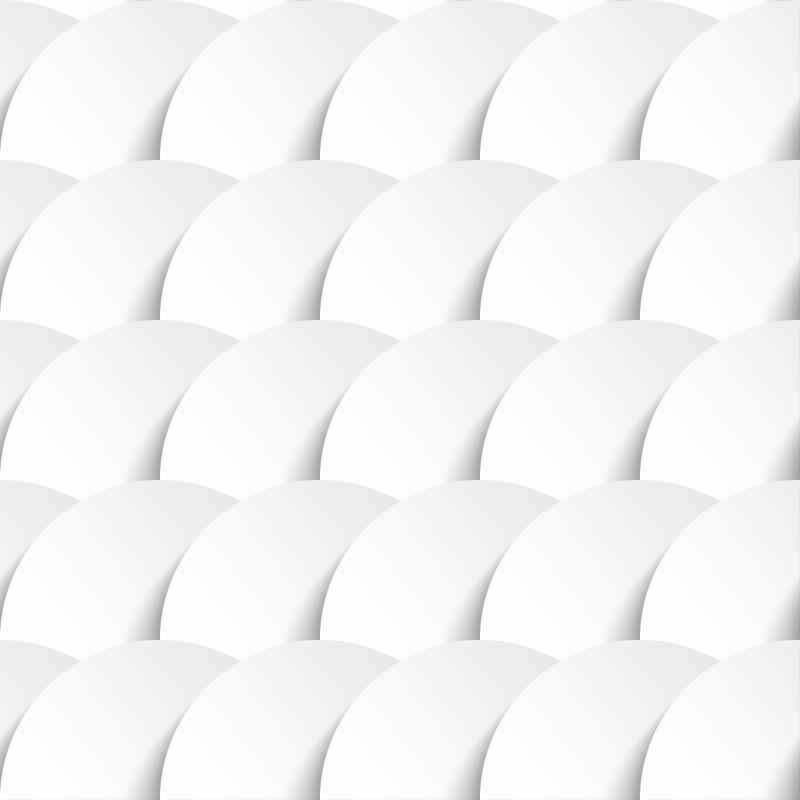 剪纸风格叠加一起的白色圆圈矢量底纹