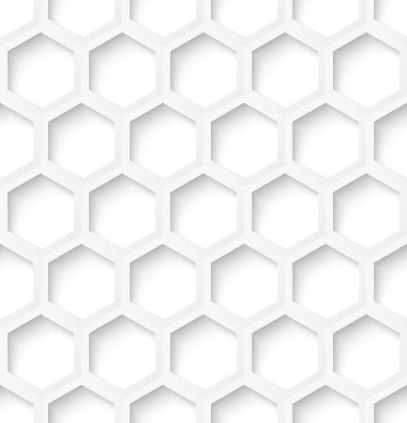 白色剪纸风格的六边形矢量背景