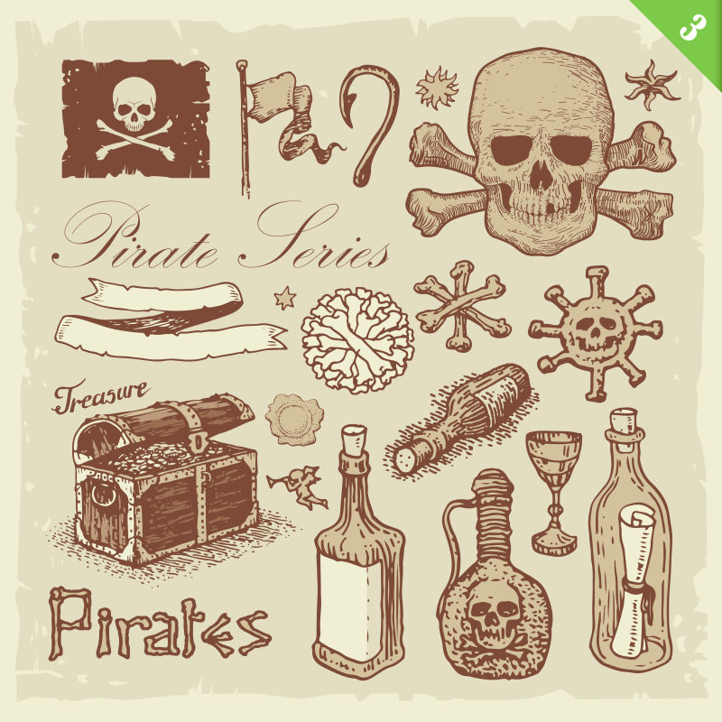 矢量创意海盗主题的插图设计元素