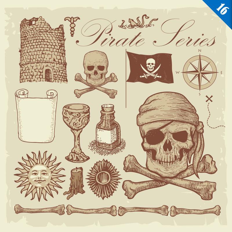 矢量海盗风格的创意插图设计元素