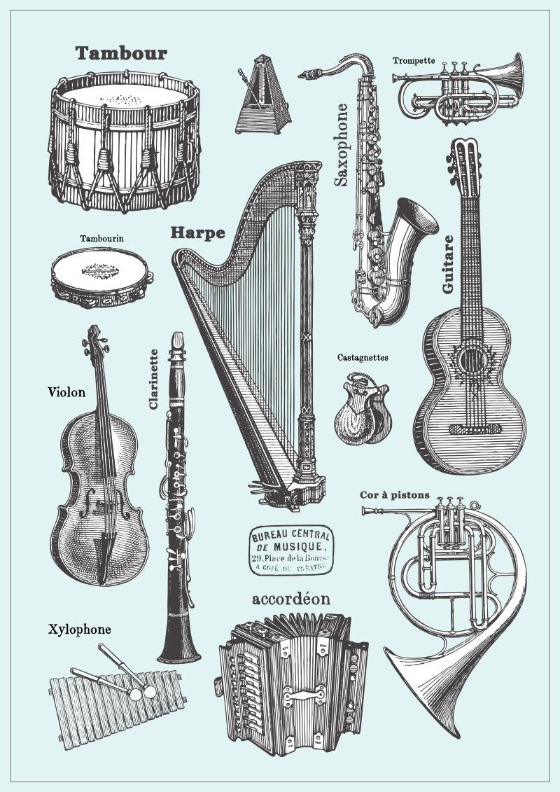 手绘风格的不同乐器矢量插画