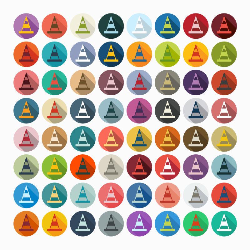 矢量的彩色交通锥图标设计