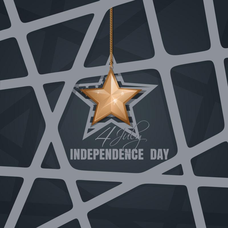 金色星星元素的矢量独立日背景