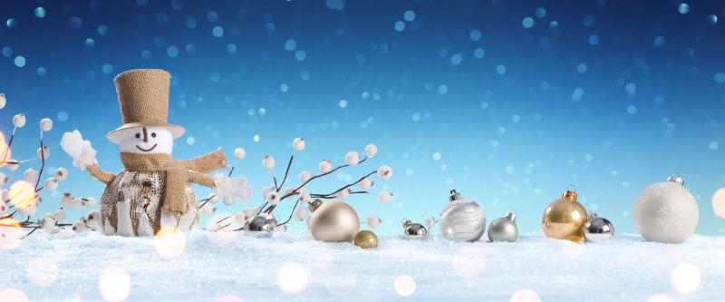 圣诞节卡片中的雪人