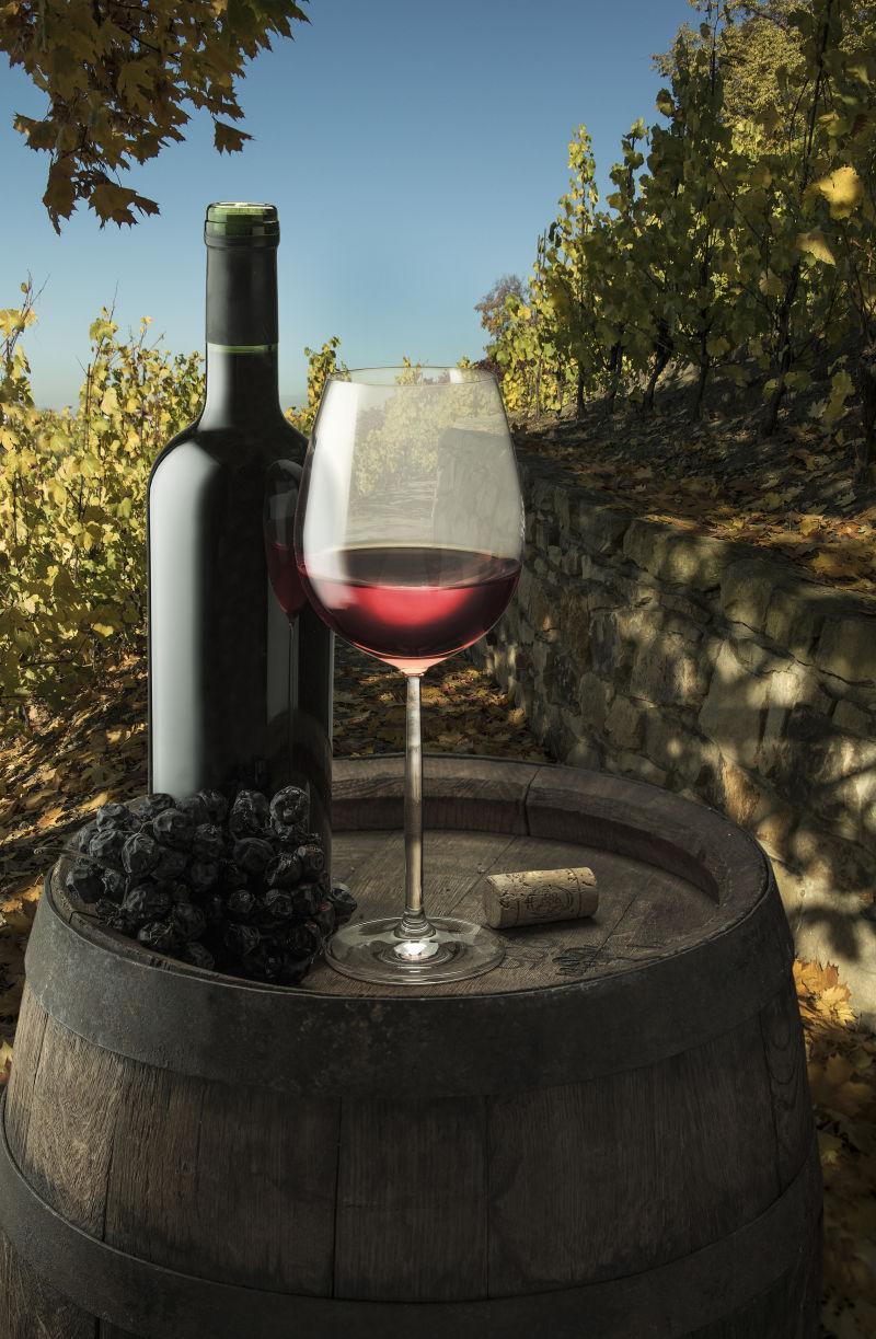 葡萄园木桶上的葡萄与葡萄酒