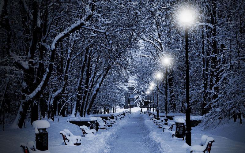 下雪过后的公园道路