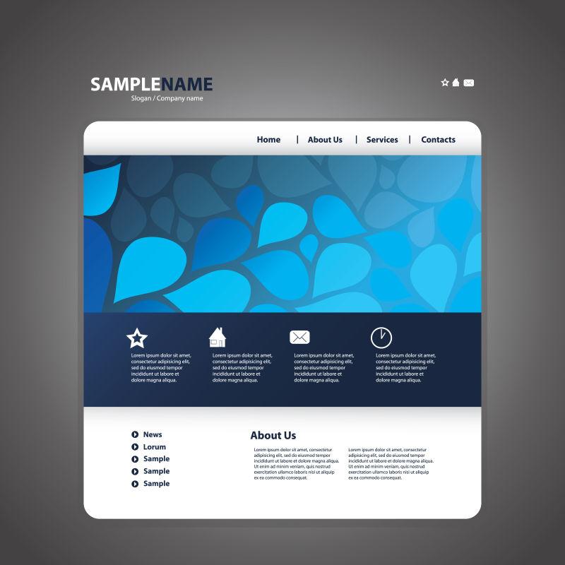 矢量的蓝色网页设计