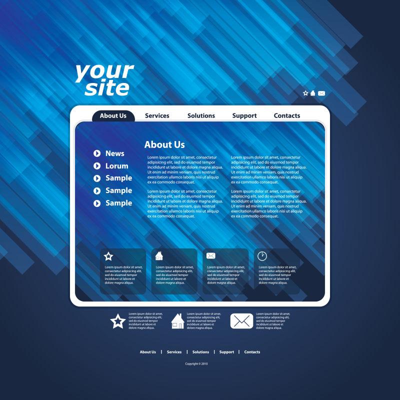 蓝色背景下的矢量商务网站设计