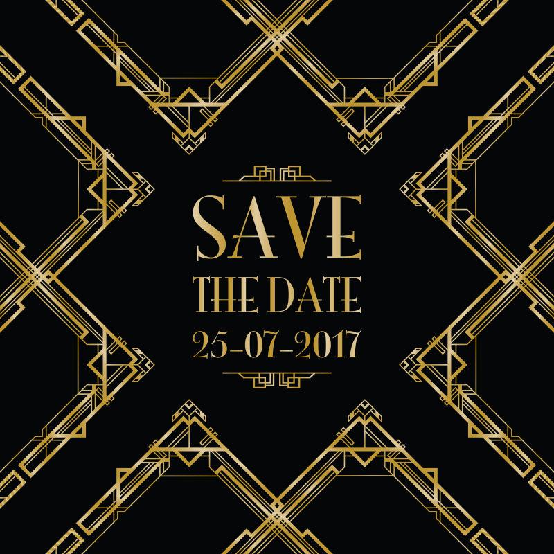 金色花纹装饰的矢量婚礼邀请函