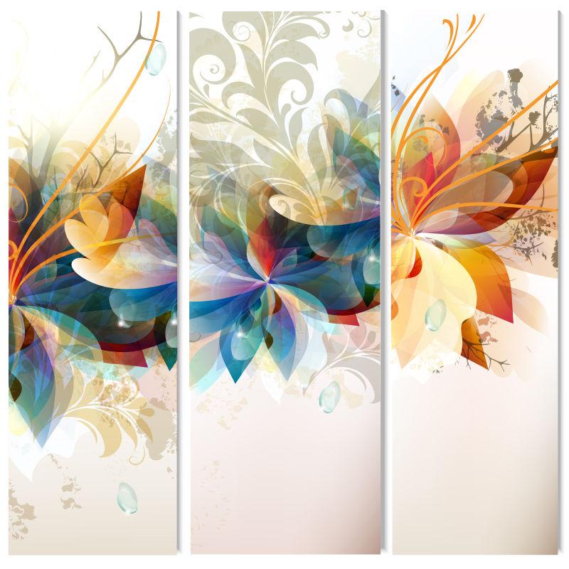 花卉图案的矢量卡片插图