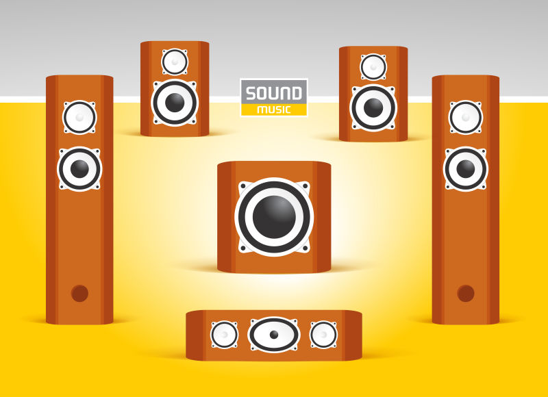矢量音乐播放器平面插图