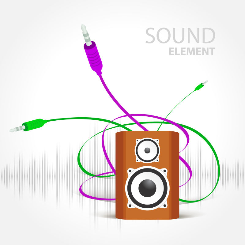 矢量创意音箱元素的插图背景