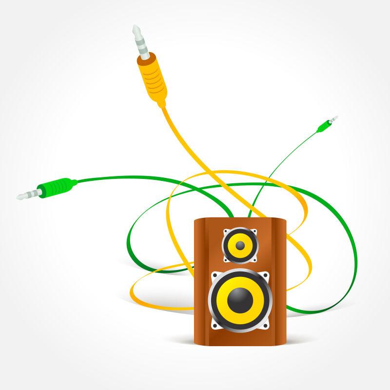 矢量创意彩色音箱相关的插图背景