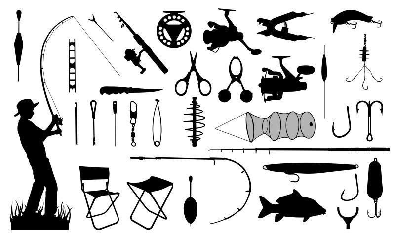 矢量的钓鱼主题图标