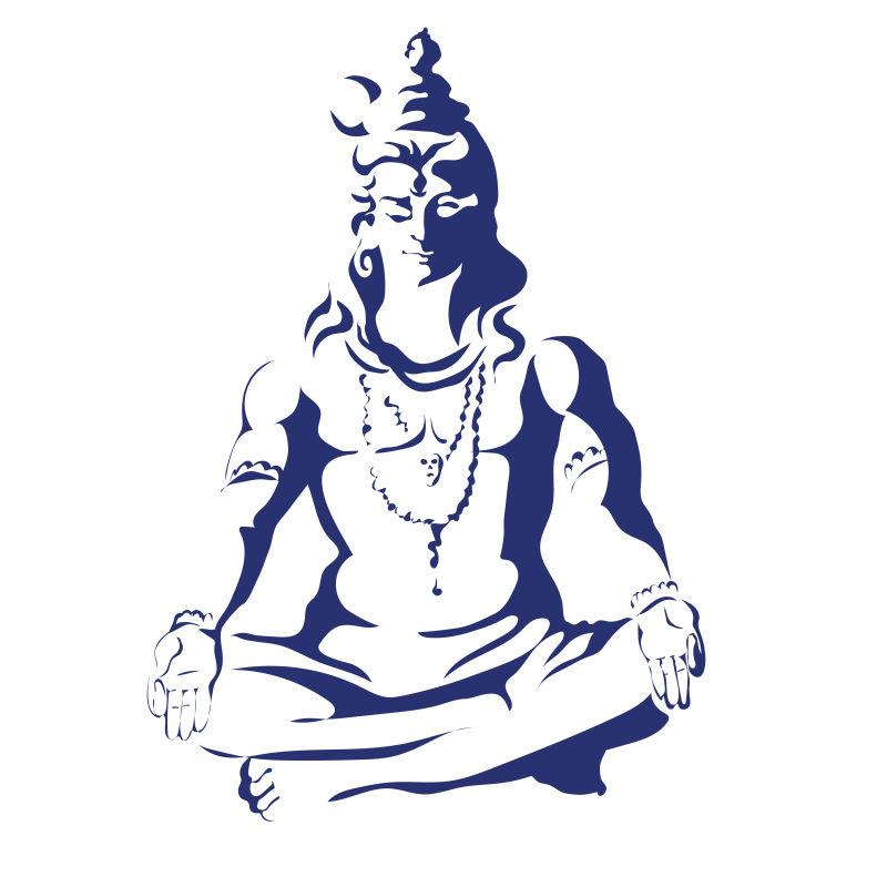 矢量单色冥想的菩萨插图