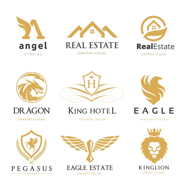 矢量金色动物标志设计