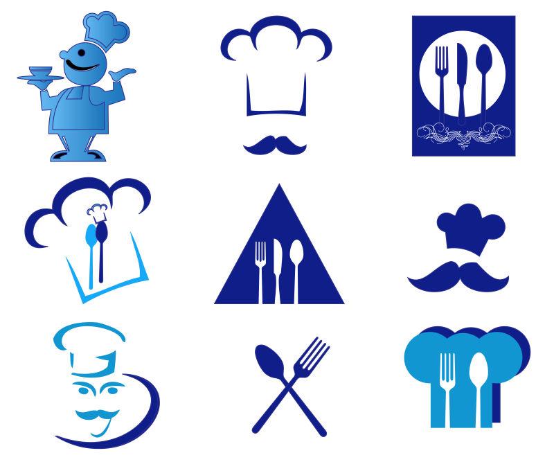 创意矢量蓝色厨师相关标志设计