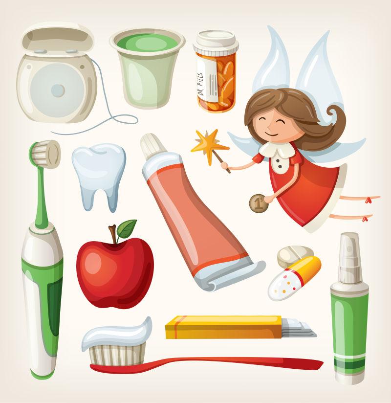 矢量的牙齿护理插图设计