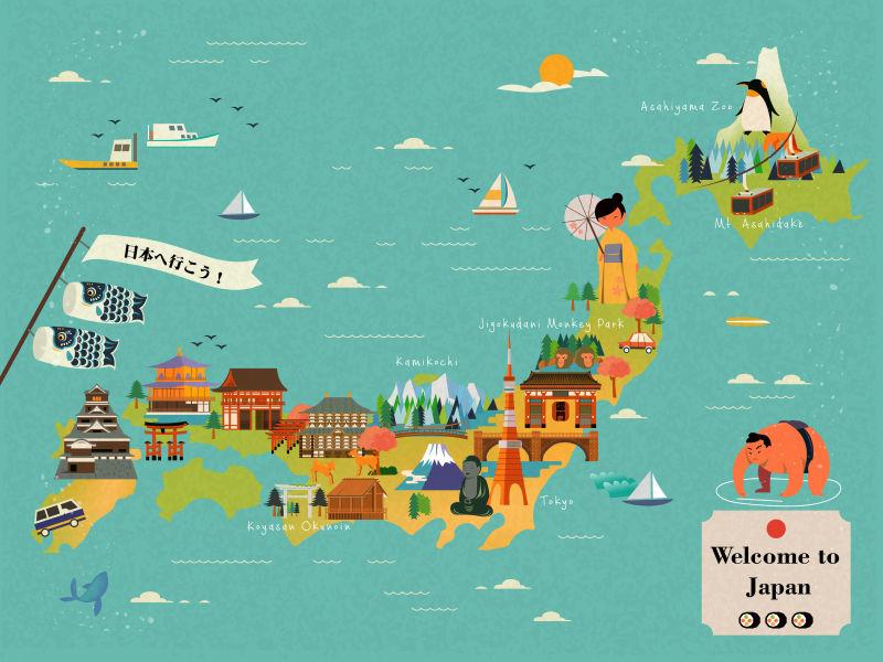矢量卡通创意日本传统风格的旅游地图设计