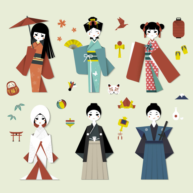 创意矢量日本传统风格的折纸人物