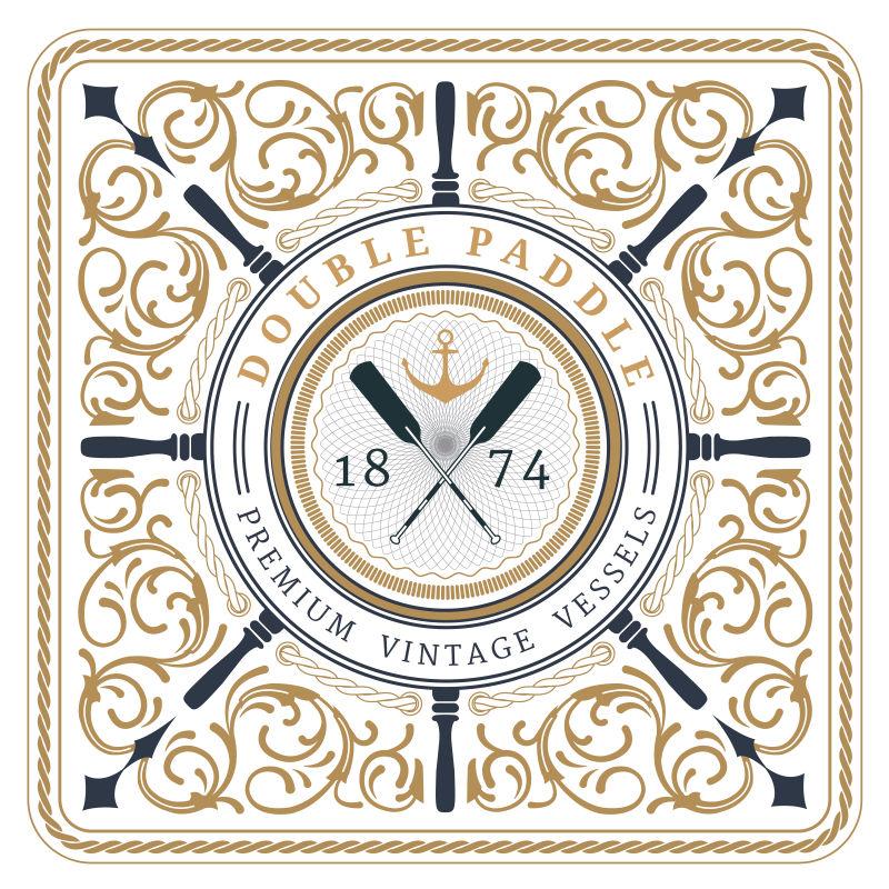 创意矢量复古花纹装饰的航海标签