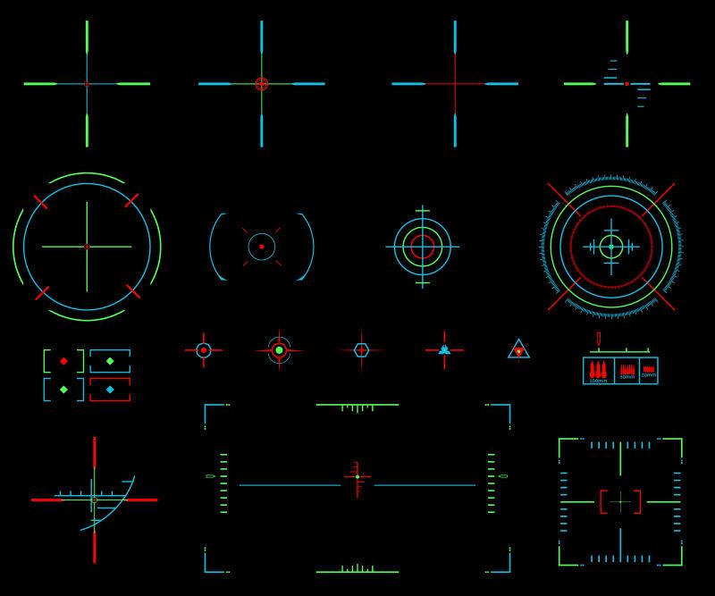 创意矢量霓虹灯光的瞄准十字准线