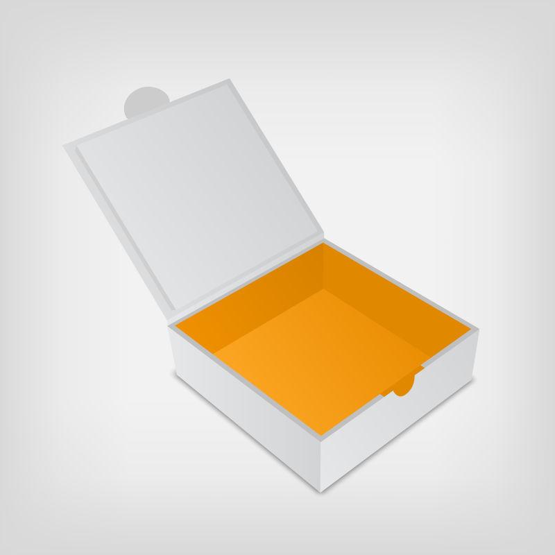 立体的白色包装盒矢量插图