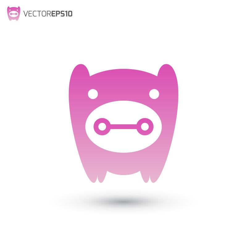 矢量粉色猪的标志设计