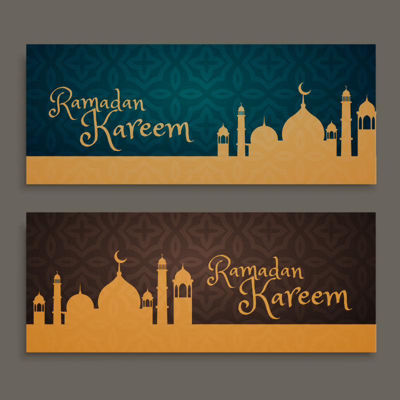 古典伊斯兰教剪影的矢量创意横幅设计