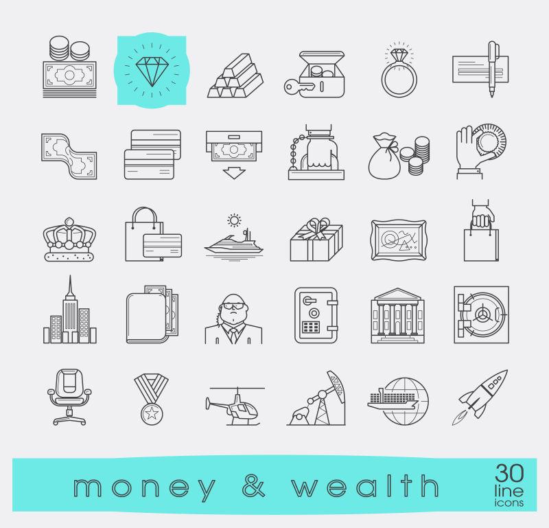 矢量金融财富相关的图标设计