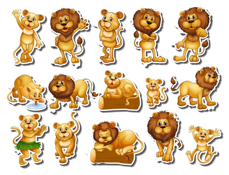 矢量卡通狮子贴纸