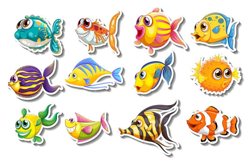 矢量卡通鱼类贴纸