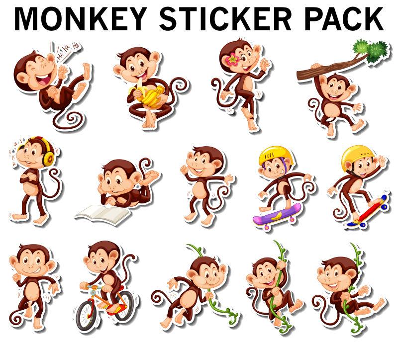矢量卡通猴子贴纸