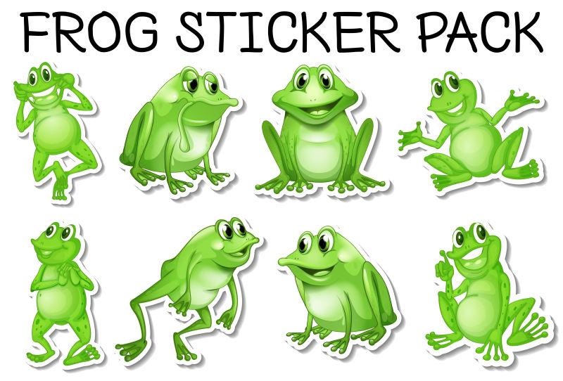 矢量绿色青蛙贴纸
