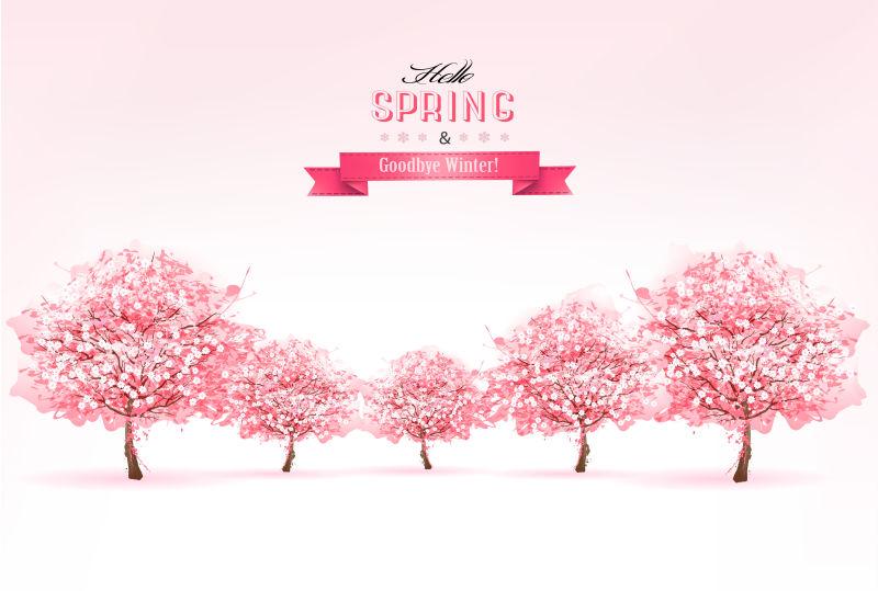 春天里的樱花树矢量背景