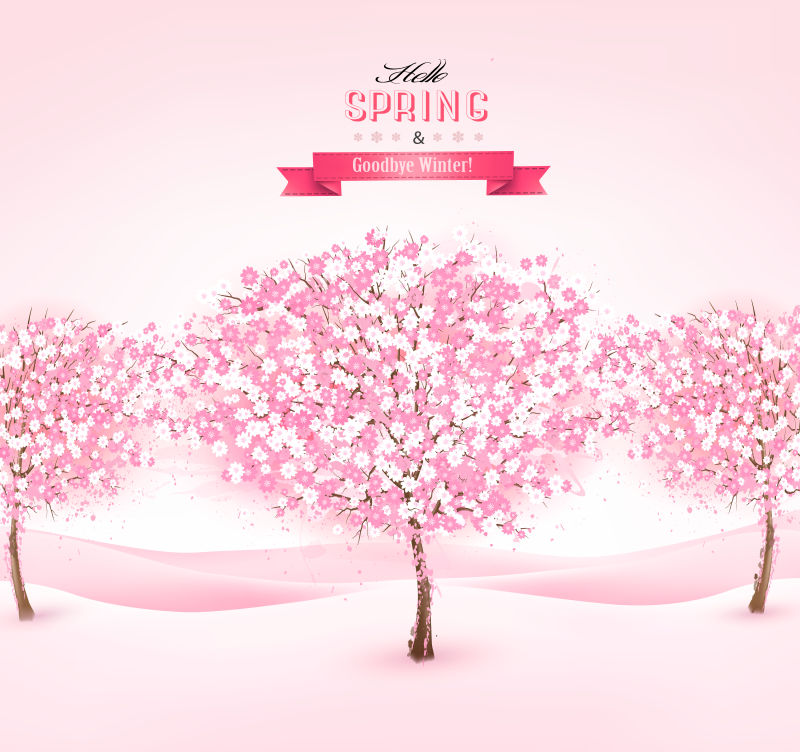 春天背景下的樱花树矢量