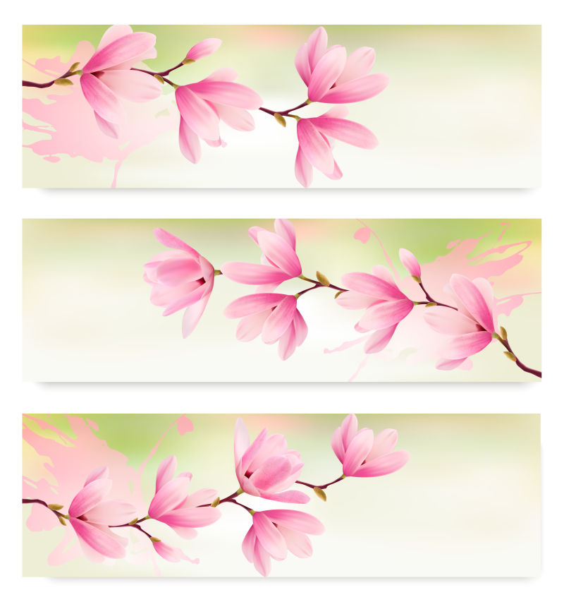 粉色花卉装饰的长卡片矢量设计