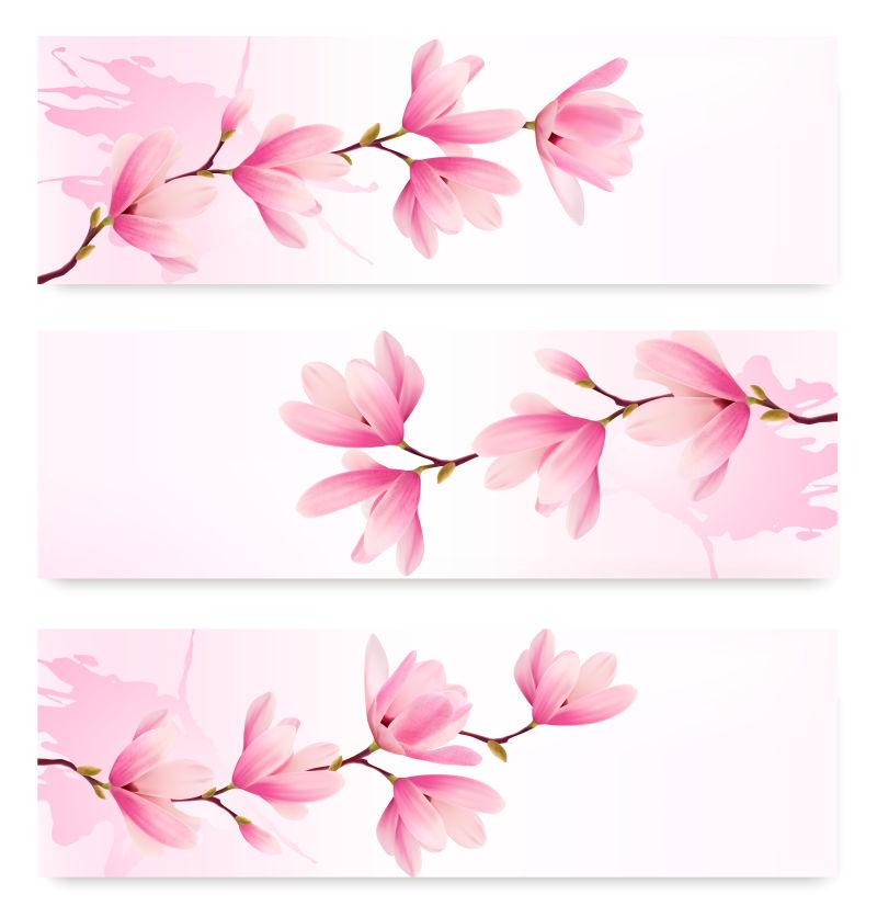 矢量的粉色花卉图案