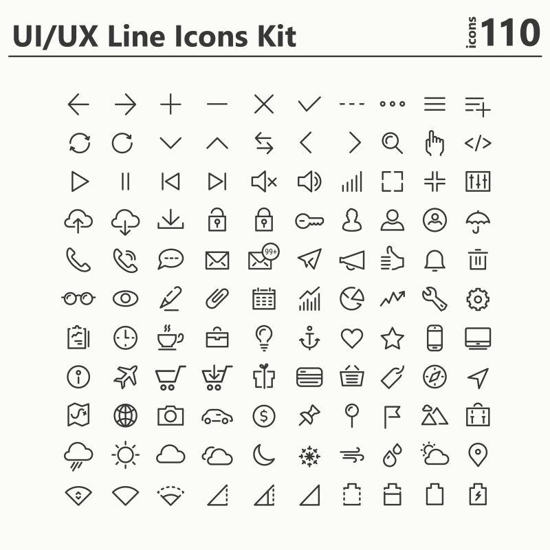 UI和UX矢量线形图标设计