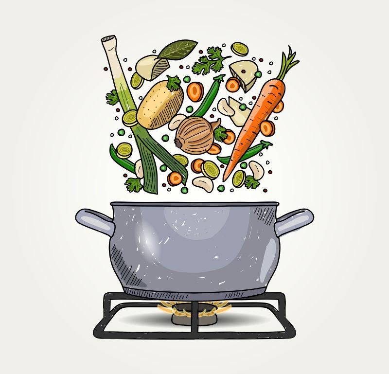 手绘风格的矢量蔬菜汤插图