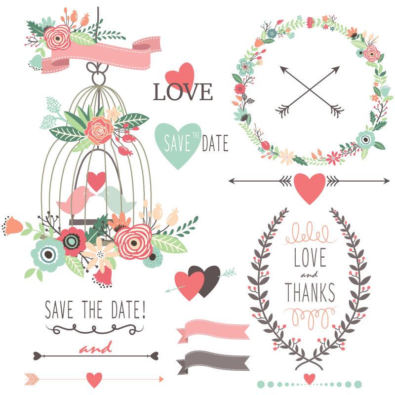 创意矢量手绘卡通矢量婚礼元素设计