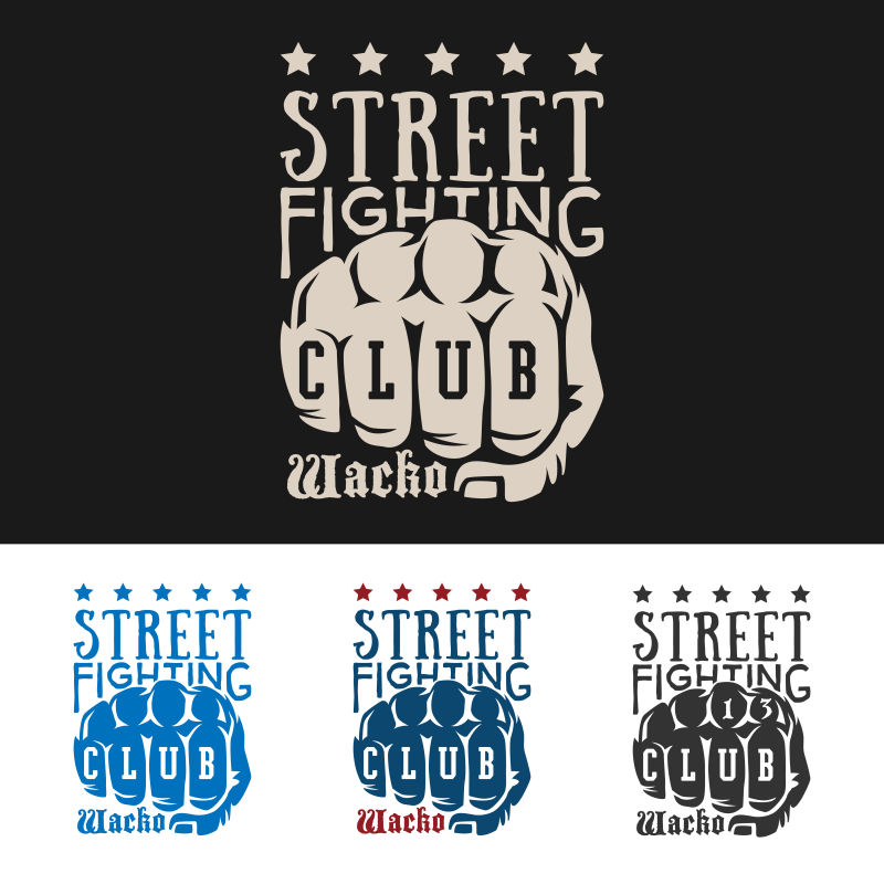 拳头图案的矢量俱乐部徽章设计