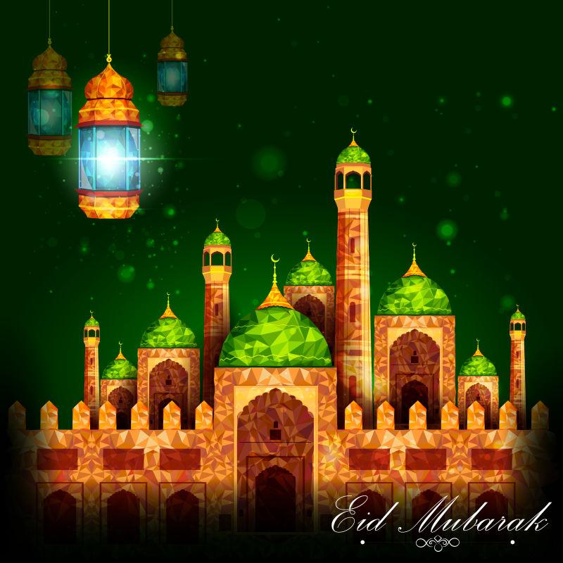 开斋节的清真寺建筑矢量插图