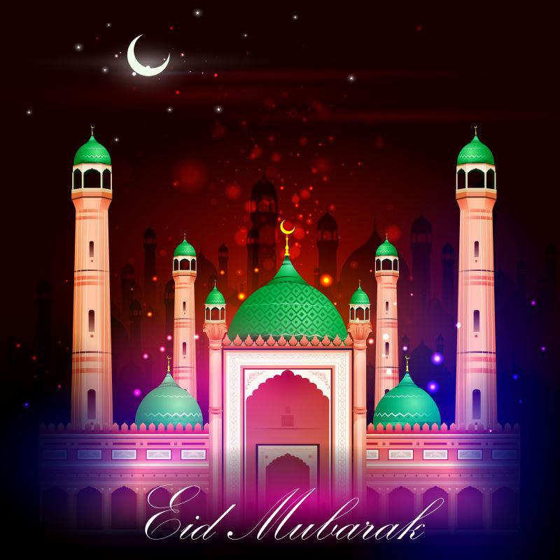 伊斯兰教建筑矢量插图