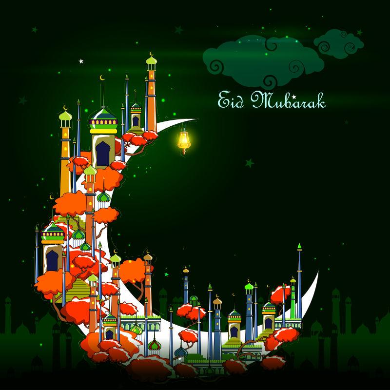 开斋节主题的矢量卡通背景